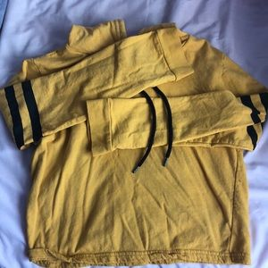 Hooded Crop Yellow Long Sleeve